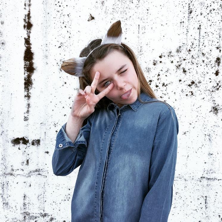 tween girl wearing 'I dig denim' jacket