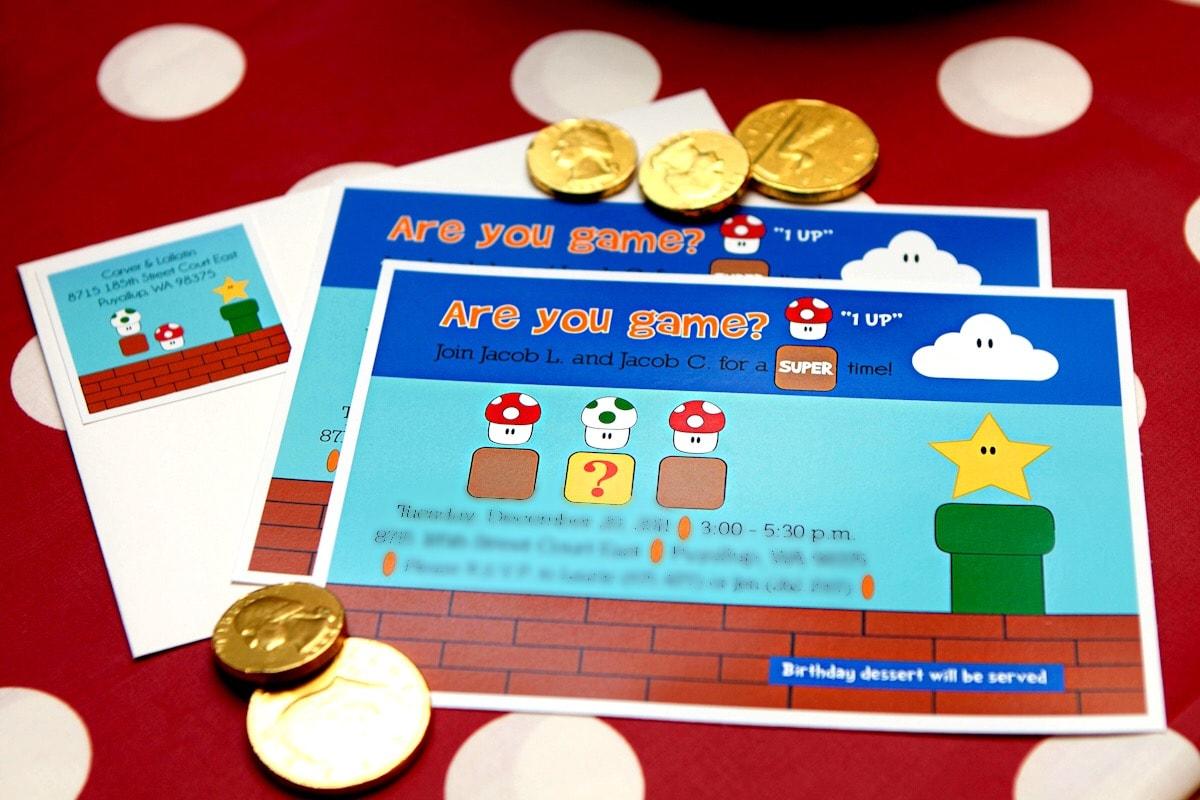 Mario brothers party ideas - invitations