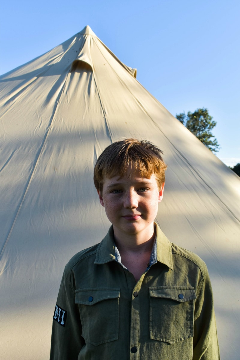 tween boy camping