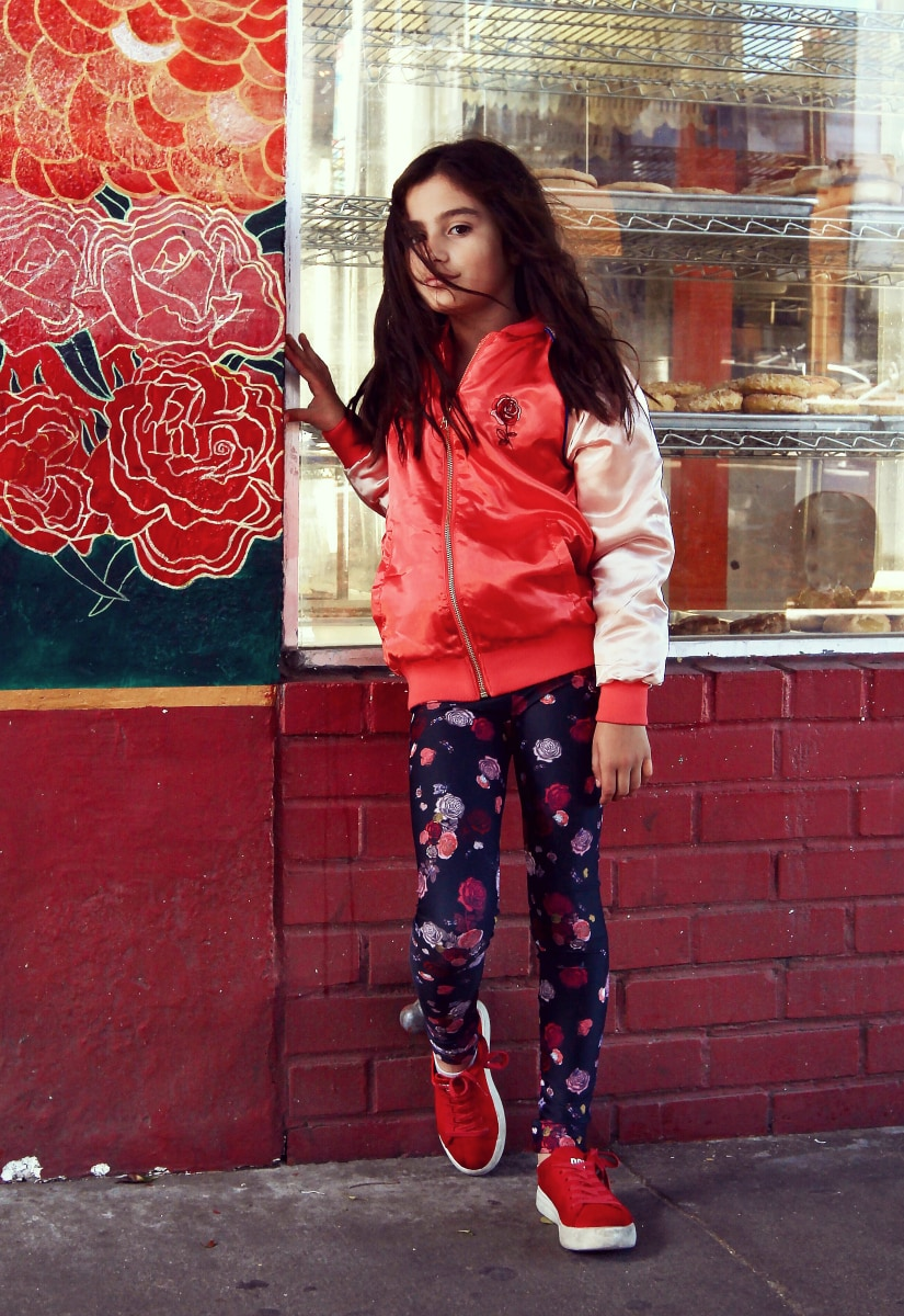 girl wearing red jacket