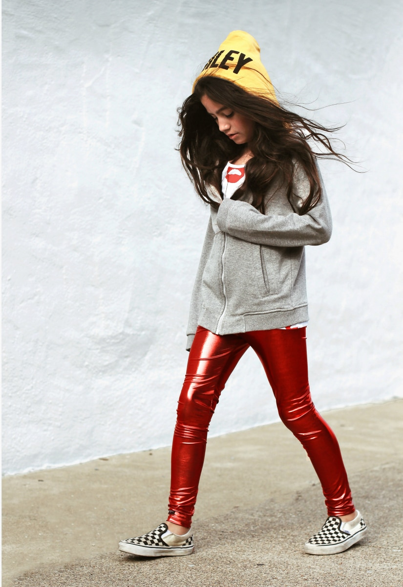 tween girl fashion - red pants, jacket with hoodie
