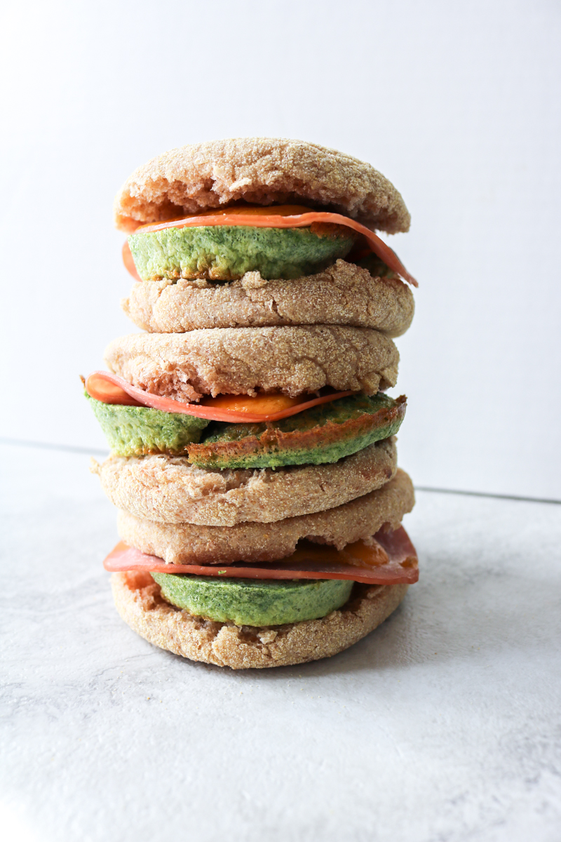 3x stacked Green eggs and Ham Sandwiches