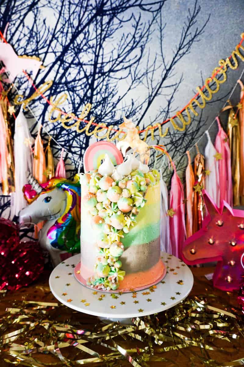 Unicorn inspired birthday cake