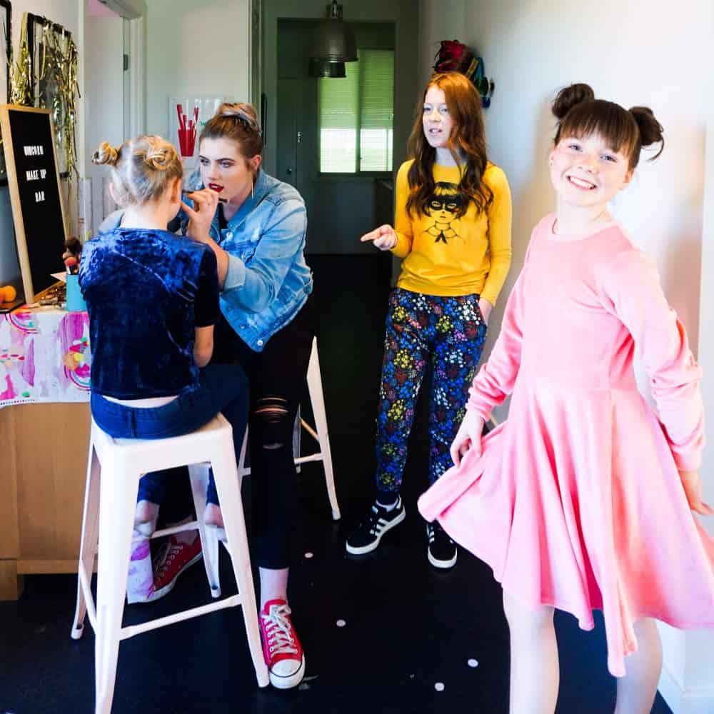 tween birthday party ideas - Having makeup done