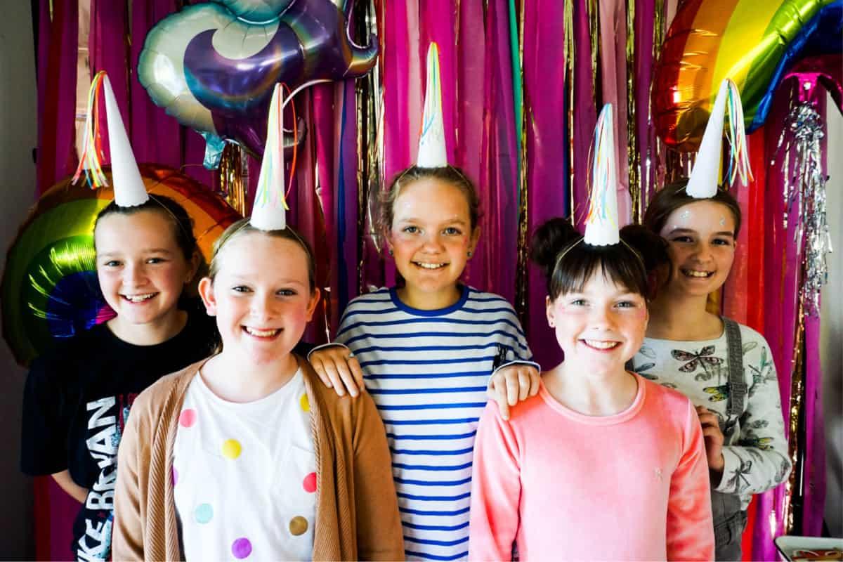 At unicorn birthday party