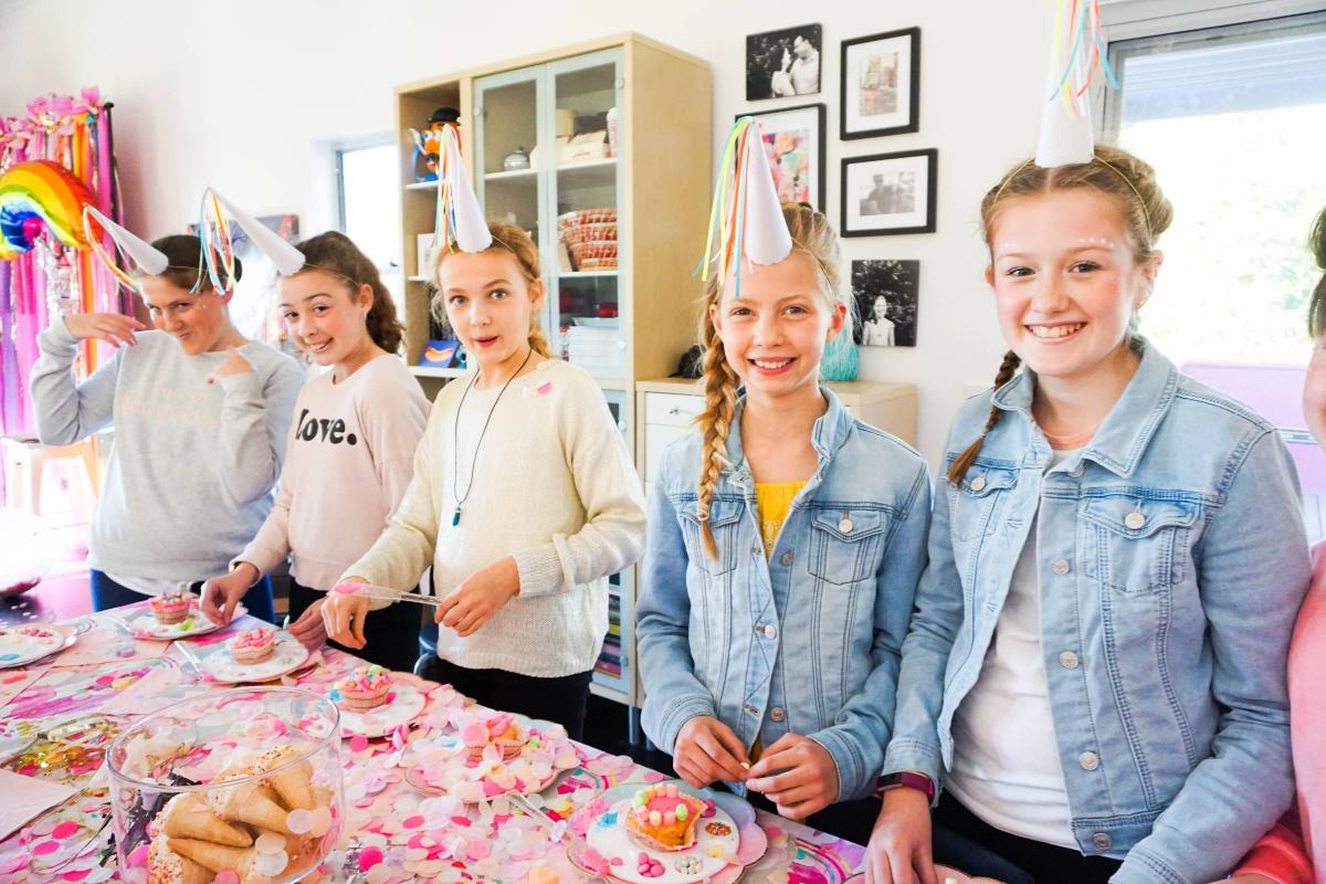 Tween girls at party