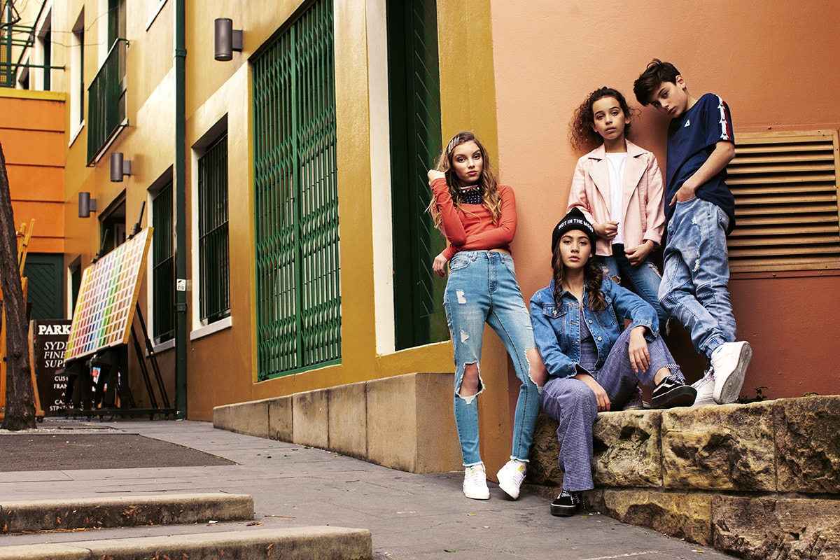 group of tweens in fashion photoshoot