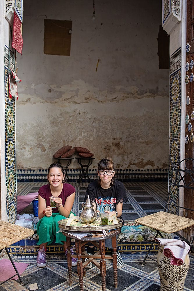 Having tea in Morocco - part of worldschooling experience