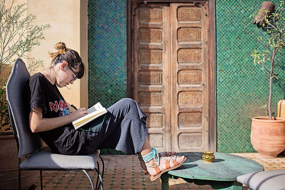 tween girl studying in Morocco - Worldschooling