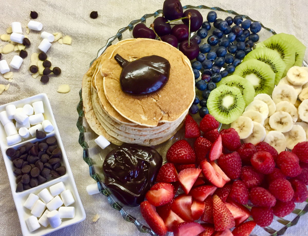 Family Pancake Recipe with fruit and extras.