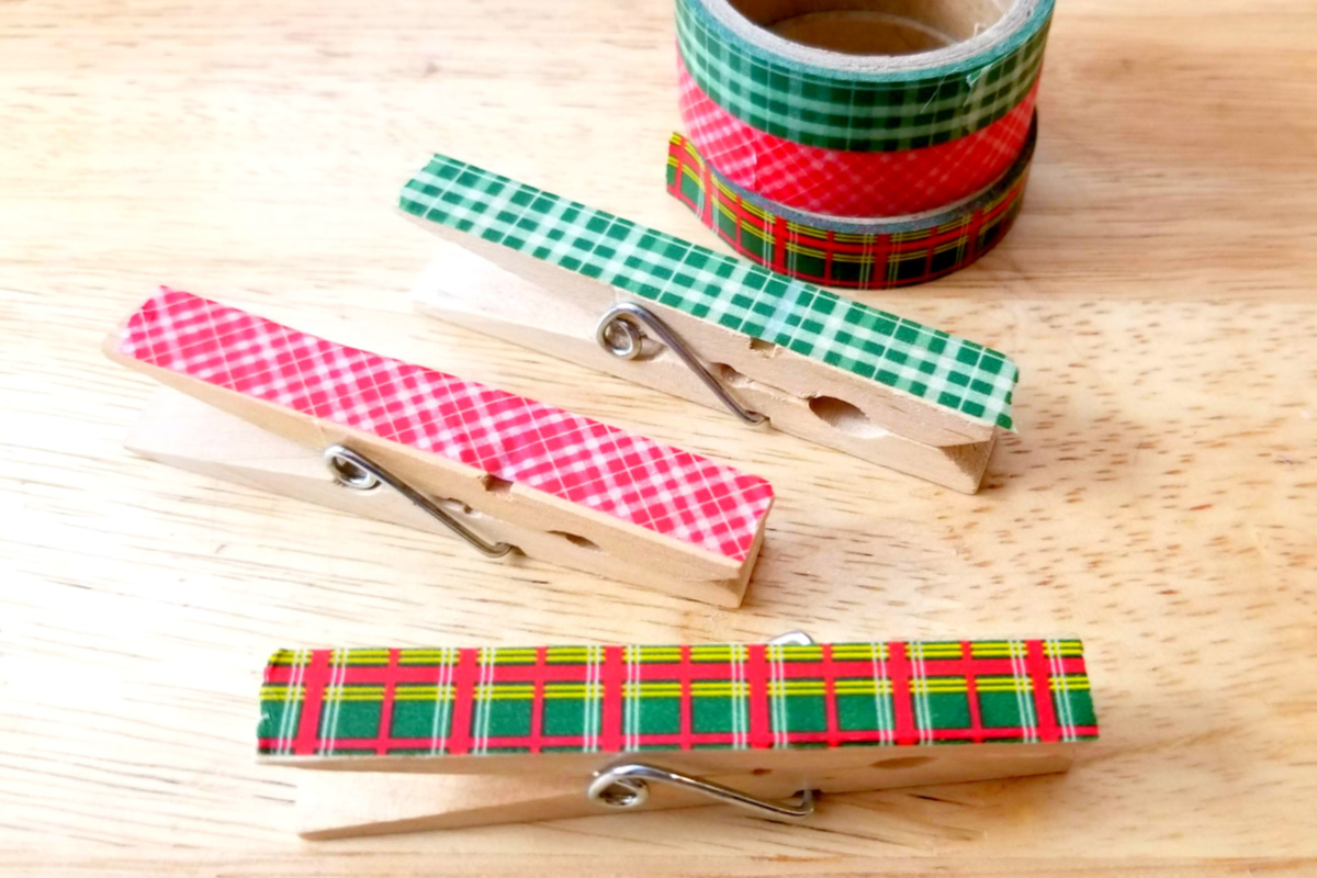 Washi Tape stuck on pegs