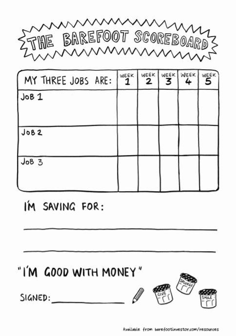 kids pocket money chore chart