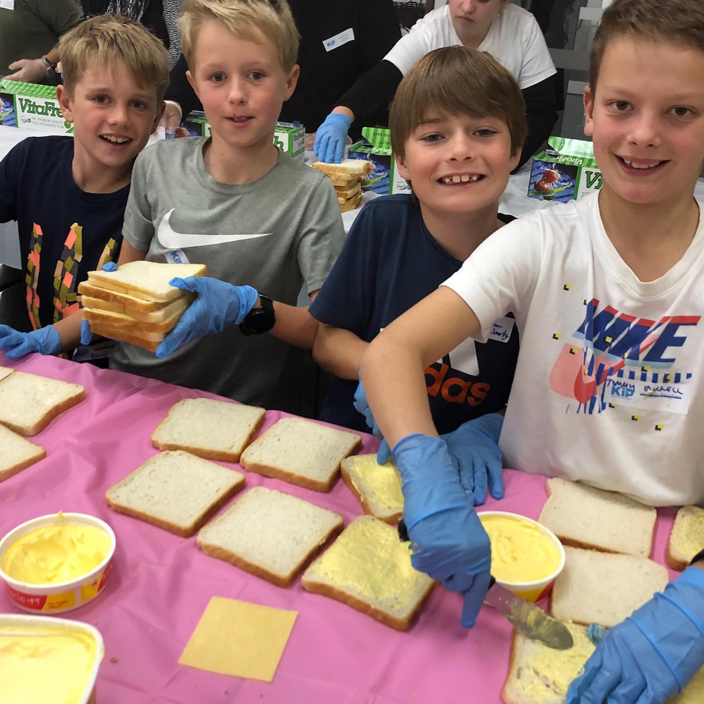 Kids in Philanthropy (KiP) making sandwiches