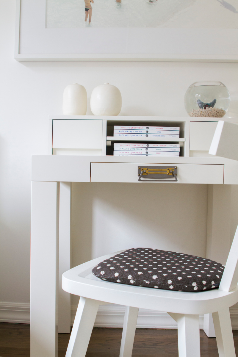 White Study desk and chair.