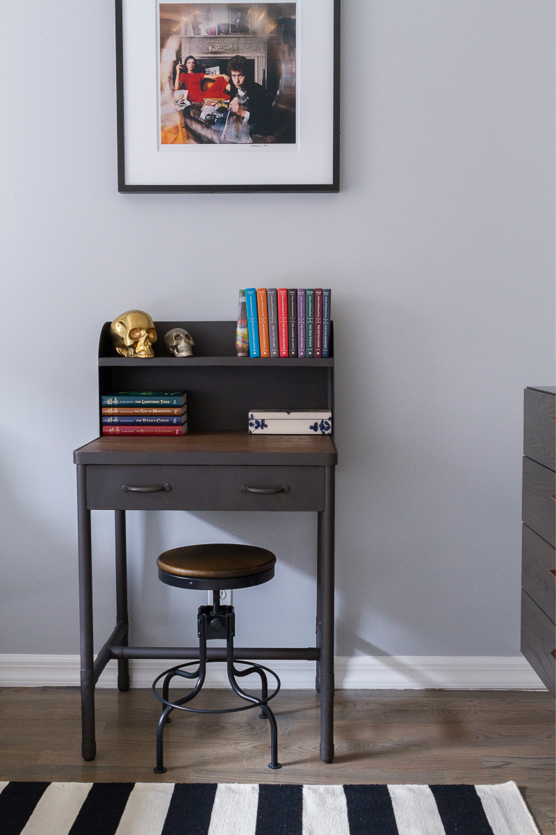 Teen Room Decor - Small wooden study desk with stool.