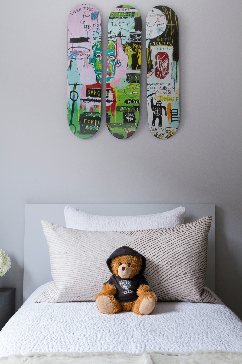 Teen Room Decor - Skateboard art handing on wall.