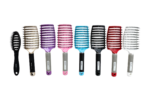 Eight Happy hair brush lined up