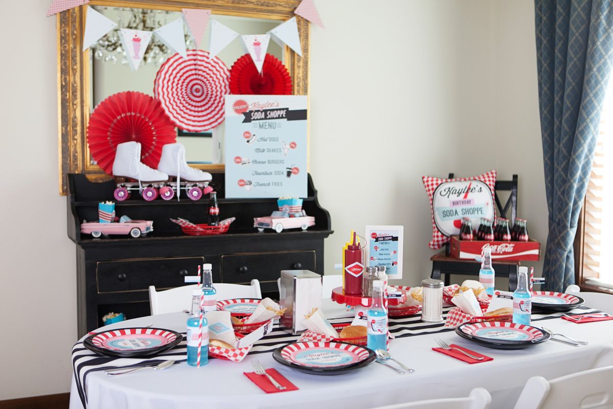 Table set up at Kaylee's Retro Soda Shoppe Party