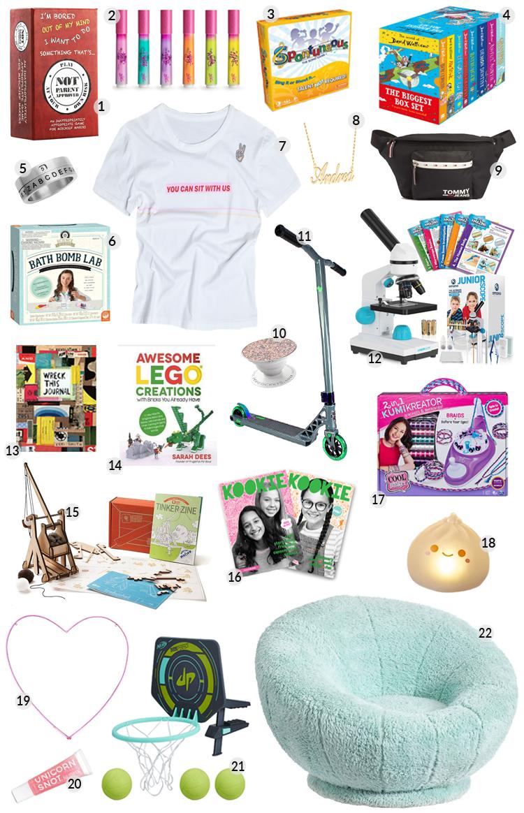 assorted gift ideas for tweens